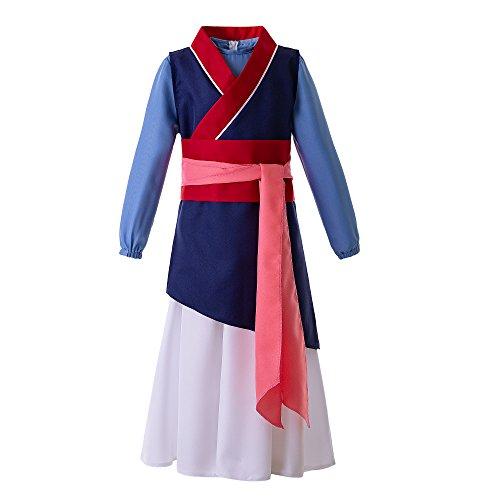 Mulan Kinder Kostüm - Pettigirl Mädchen chinesische Heldin Prinzessin Kostüm,130