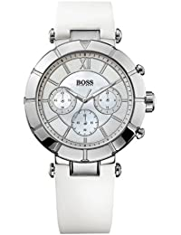 1502314 Hugo Boss Women's Watch Chronograph Quartz Nacre Dial White Rubber Strap