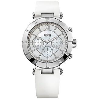 Hugo Boss 0 – Reloj de Cuarzo para Mujer, con Correa de Silicona, Color Blanco