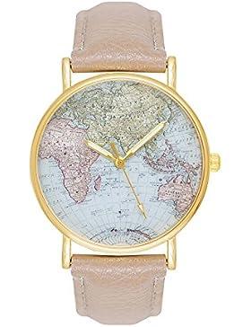 Damenuhr Weltkarte Uhr Globus Karte World Map Farbe: Beige Creme Gold Damen Armbanduhr Blogger Bloggeruhr Mingbo...