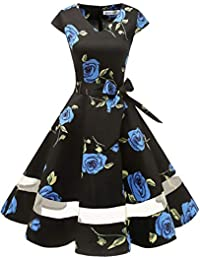 Gardenwed Annata 1950 retrò Rockabilly Polka Vestito da Audrey Swing Abito  da Cocktail Partito con Maniche f2f0c7a3914