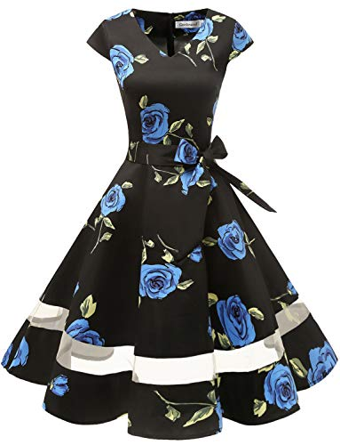 Gardenwed 1950er Vintage Retro Cocktailkleid Cap Sleeves Rockabilly Kleider Damen Schwingen Petticoat Faltenrock Blue Rose M