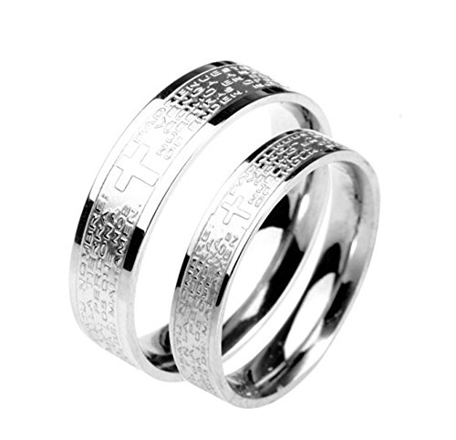 Bishilin Paarepreis Paare Ringe Edelstahl AAA Zirkonia mit Grauvr Kreuz Bibel Verlobung Ringe Ehering Paarringe Silber Demen Gr. 45 (14.3)&Herren Gr. 52 (Kostüme Und Ding Paare 1 2 Ding)
