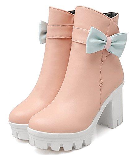YE Damen Chunky High Heels Plateau Stiefeletten mit Blockabsatz Schleife und Reißverschluss 9cm Absatz Herbst Winter Schuhe Rosa