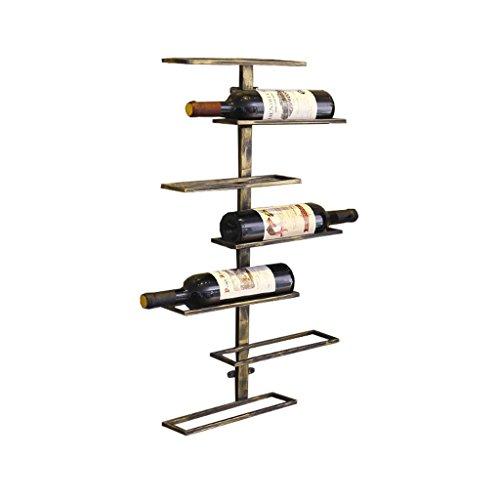 Etagère à bouteille Supports à vin muraux, support de bouteille de vin suspendu, étagères de rangement d'équipement de vin de fer en métal Applique - détient 7 bouteilles de vin,38x8.5x68.5cm