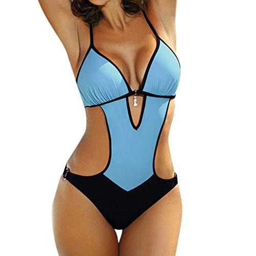 YEARNLY Damen Badeanzug Neckholder V-Ausschnitt Rückenfrei Einteiliger Bademode Bauchweg Perle Cutouts Strandbikini Blau, Weiß, Pink S-2XL