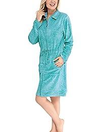 Nicki-Bademantel mit Reißverschluss für Damen - Moonline
