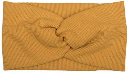 styleBREAKER Haarband in Feinripp Optik mit Schleife, Stirnband, Headband, Damen 04026009, Farbe:Senf