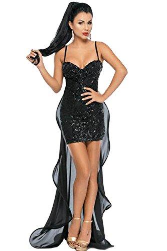 COSIVIA Robe Femme Noir Sans manches Paillettes Broderie chalutage Tulle Robe Robes de soirée Noir