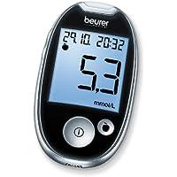 Preisvergleich für Beurer GL 44 Blutzuckermessgerät mmol/l (Schwarz, Sichere Blutzuckermessung durch breiten Teststreifen und Blutmengenkontrolle...