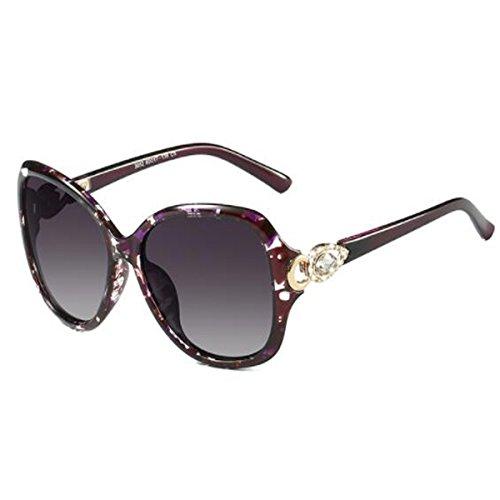 LQQAZY Polarisiert Sonnenbrille Runde Gesicht Sonnenbrille Frauen Flut Cool Design Sonnenbrillen,Floral