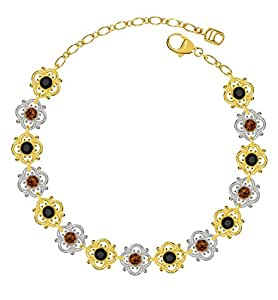 Lucia Costin Silver, Brown, Black Swarovski Crystal Bracelet with Flowers