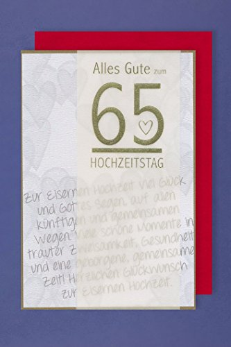 AvanCarte Eiserne Hochzeit 65 Hochzeitstag Karte mit Pergament Band 16x11cm