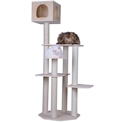 Arbre à chat en bois véritable, avec 5 niveaux différents