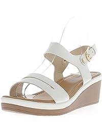 Blanca Cuña Sandalias de Suelas Anchas de 6cm y 3cm