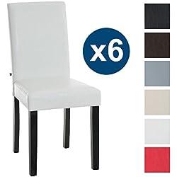 CLP 6s Sillas de comedor INA, estructura madera en color negro, tapizado piel sintética, altura asiento 47 cm blanco