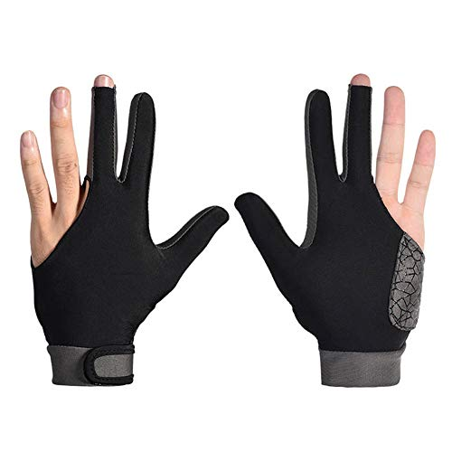 Fxhan 1 Pair Man Woman Silicone Non-Slip 3 Fingers Show Gloves for Billiard Snooker Cue Sport