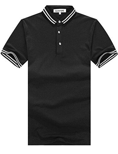 Glestore Herren T-Shirt Einfarbig Poloshirt Baumwolle S-XL 01Schwarz