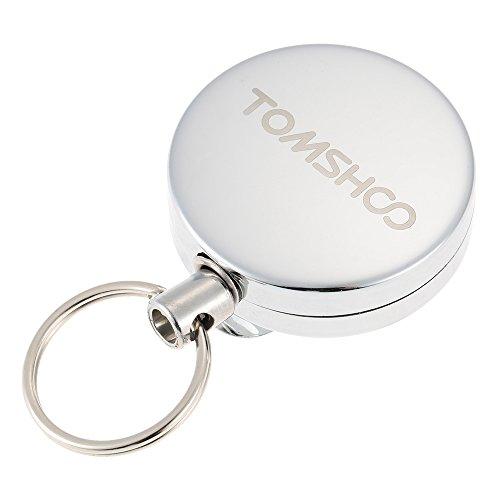 Preisvergleich Produktbild TOMSHOO 63cm Versenkbare Spule Schlüsselanhänger Schlüsselanhänger Gürtel-Clip