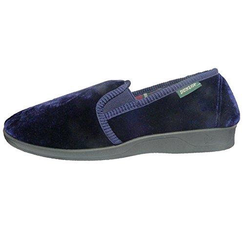 Dunlop Hommes Velour Pantoufles Avec Doublure À Carreaux Bleu Marine