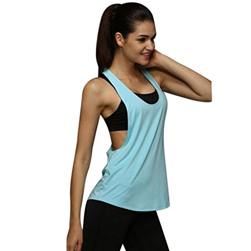 OVERDOSE Frauen Sommer Lose Gym Sport Weste Training Running Tops Shirt Sport T-Shirt(A-Light Blue,EU-36/CN-M)