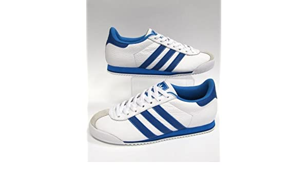 1266bc27301 Adidas Kick White with Blue Stripes- The Ultimate 80s Trainer - Size 9 UK   Amazon.co.uk  Shoes   Bags