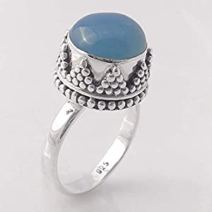 Blue Chalcedony Indian Solid 925 Sterling Silver Ring Jewelry