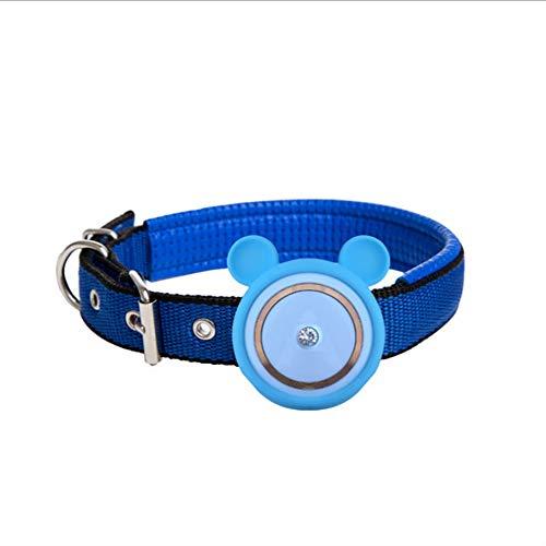 QNMM Mini Pet Tracker GPS Resistente al Agua/Alarma/Seguimiento en Tiempo Real/Monitor de Voz Collar inalámbrico Pet Kitten Cat Tracker Finder Device,Blue