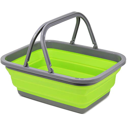 com-four® Einkaufskorb aus Silikon, Faltbarer Camping-Korb [Farbe variiert] (01 Stück - Einkaufskorb)