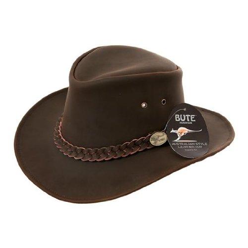 VIZ Cuir Marron Style Australien Chapeau de Cowboy - Marron - Small