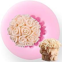 Rosa en forma de corazón de silicona 3d Fondant Cake Molde DIY Craft jabón vela molde