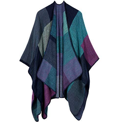 Zyueer cappotto del maglione di cardigan con collo scialle a mantella in cashmere lavorato maglia autunno invernale plaid cappotti caldo poncho