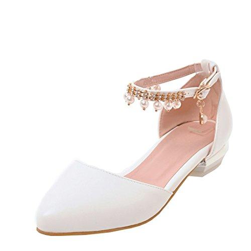 Agodor Damen Flache Spitze Riemchen Sandalen mit Schnalle und Perlen Rockabilly Ballett Schuhe (Ballett Heels Knoechelriemchen)