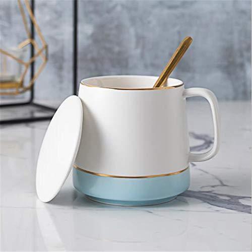 Nordic Becher mit Deckel Löffel in Haferflocken Tasse großen Bauch Tasse weiblichen Keramik Tasse Paar ein Paar Kaffeetassen blauen Schaum