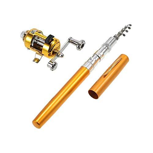 Baomasir Stift Angelrute Foldable Mini Portable Travel Pocket Size Drum Wheel Aluminum Alloy Pen Shaped Pole ideal Fishing Rod, 2019,Gold