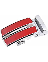 TOOGOO(R) Men's Solid Buckle Automatic Ratchet Leather Belt Buckle Red+Silver