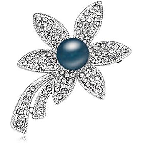 DEPOT TRESOR perno en forma de flor con perla y cristales de Swarovski, color perla Screw, color azul oscuro