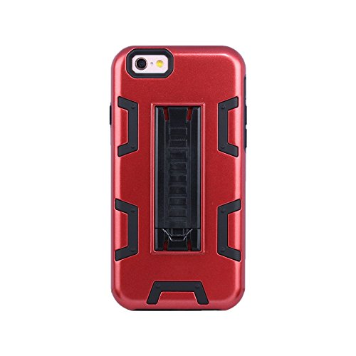 "HYAIT® For APPLE IPHONE 6 4.7""Case[C72][METAL][COLOR LINE][Holder] TPU+PC Premium Hybrid Shockproof Kickst Bumper Full-body Rugged Dual Layer Stents Cover-BLACK&BLACK IPHONE 6 4.7-C72-RED&BLACK"