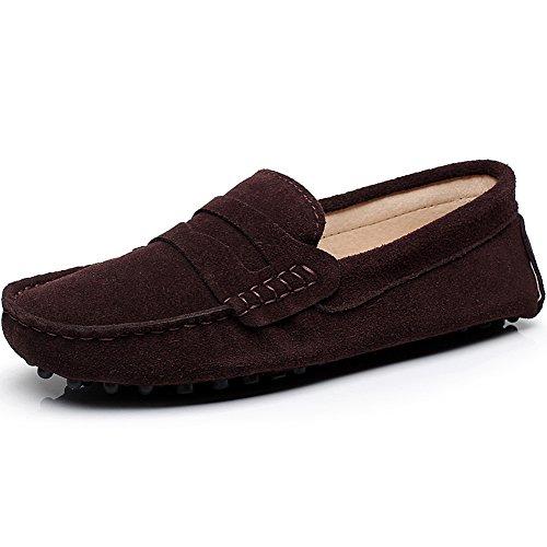 rismart Damen Mode Schlüpfen Mokassins Beiläufig Wildleder Halbschuhe Schuhe 24208(Schokolade,36.5 EU) -