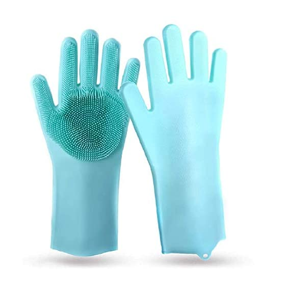 SHOPTOSHOP Magic Silicone Scrubbing Gloves, Scrub Cleaning Gloves with Scrubber for Dishwashing and Pet Grooming, Latex Free (Multi Color, 1 Pair) (Silicone Glove)