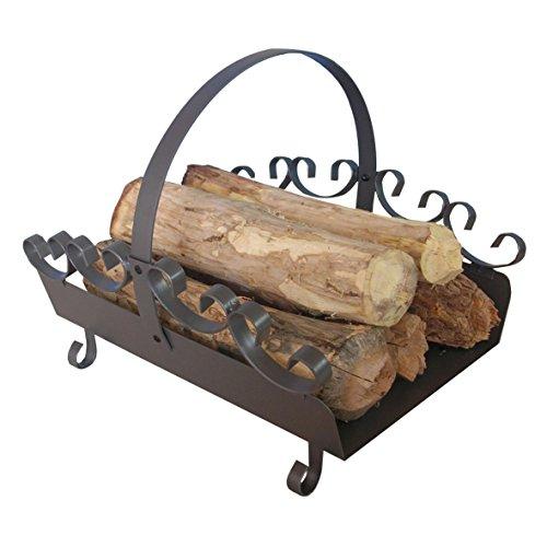 Holzlege aus Stahl in Gussgrau mit verzierung ca. 42 x 35 x 36 cm - ideal zur Holzaufbewahrung,zum Transportieren von Kaminholz - als Holzkorb-Ersatz