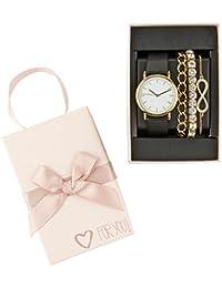 """SIX """"Geschenk"""" Set mit schwarz goldener Damen Uhr Lederopik & goldene Ambändern, Strass, Infinity Unendlichkeit in hochwertiger Geschenkbox (388-287)"""