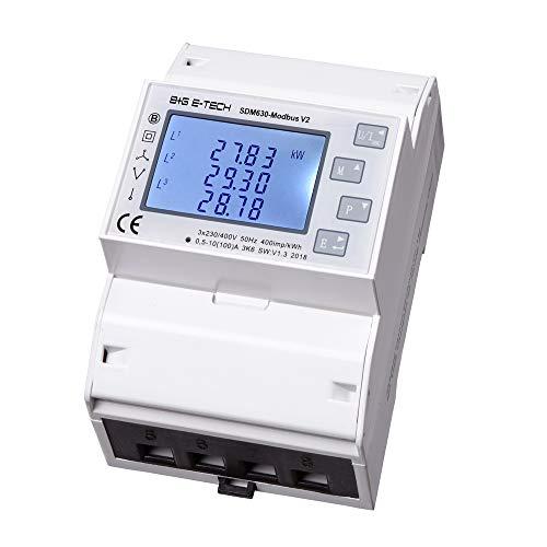 B+G E-Tech SDM630Modbus - digitaler Stromzähler für Wechsel- und Drehstrom geeignet, Zweirichtungszähler mit 2x S0 & RS485 MODBUS Kommunikation