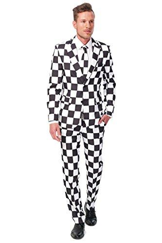 Schwarz-weißer Suitmeister Anzug XL