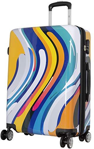 Trendyshop365 Hartschalen City-Koffer Paint Wellen-Motiv 68 cm 66 Liter 4 Räder Bunt Zahlenschloss