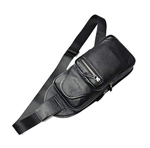 PLAQV Crossbody Bag Leder Schultertasche schwarz für Damen und Herren für Outdoorsport, Wandern, Radfahren, Bergsteigen, Reisen,Black - Psp Herren