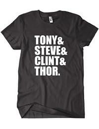 The Avengers T shirt - Avengers Assemble Tony Steve Clint and Thor in Black