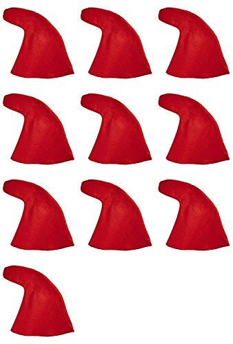 Zwerg Rote Kostüm - Zwergenmütze zum Kostüm Rot - 10er-Set