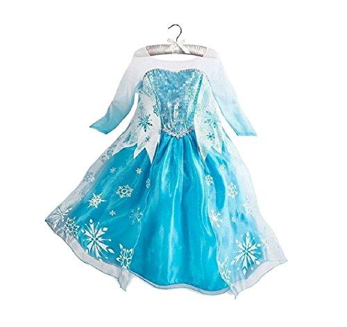 Mädchen Eiskönigin / Schneeprinzessin Kostüm mit Schneeflöckchen Druck - Blau/Silber/Weiß - Gr. 122-128 (Anna Kleinkind Kostüm)