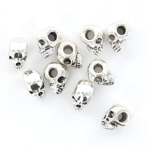 Soccik Totenkopf Schädel Spacer Perlen Beads Macroporous Totenkopf Perlen Für DIY Halskette Armbänder 10 Stück